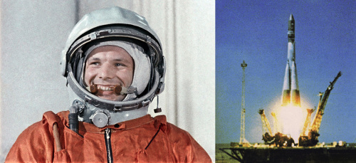 Yuri Gagarin and the Vostok 1 launch on 12 April 1961.
